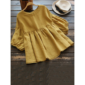 Women Casual O-neck Ruffled Cotton 3/4 Sleeve Blouse