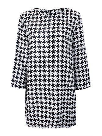 Women Swallow Grid Three Quarter Sleeve Cambric Loose Dress