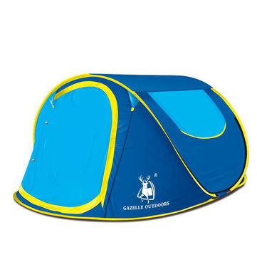 HUILINGYANG 3-4 People Automatic Camping Tent Quick Open Single Layer Sunshade Canopy