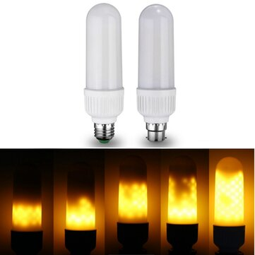 E27 B22 6W SMD2835 Three Modes 1300K-1800K 99LEDs Yellow Flame Light Bulb AC85-265V