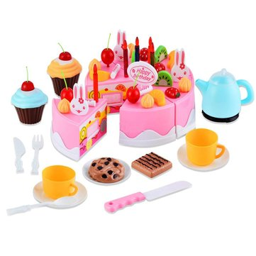 54Pcs Birthday Decoration Cake Set Pretend Play Toy Random Packing