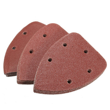 30pcs 140mm 60-120 Grit 5 Holes Triangle Sandpaper Sanding Sheets Mouse Sander Pads