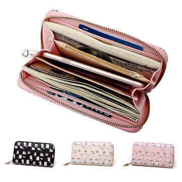 Women Girls Lovely Leather Long Wallet Clutch Card Holder Cute Cat Phone Bag Case Purse