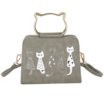 Women PU Leather Animal Carton Cat Lovely Vintage Handbag Shoulder Bag Crossbody Bag