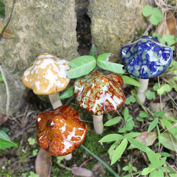 4Pcs Ceramic Mini Mushroom Toadstool Garden Ornaments Ideal For Plant Pots Fairy Garden Decorations