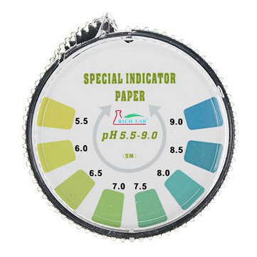 Precision PH Test Strips Roll Short Range 5.5-9.0 Indicator Paper Tester Dispenser w/ Color Chart