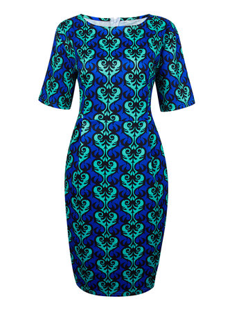 Slim Vintage Pattern Printed Women Bodycon Sheath Dress