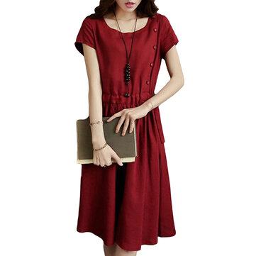 Vintage Femmes manches courtes plissé Button Pocket Robes