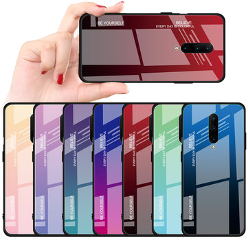 Bakeey Gradient Color Tempered Glass + Soft TPU Back Cover Protective Case for OnePlus 7 Pro