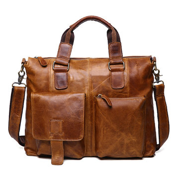 Ekphero® Genuine Leather Crossboby Bag Retro Dual Use Big Capacity Handbag For Man