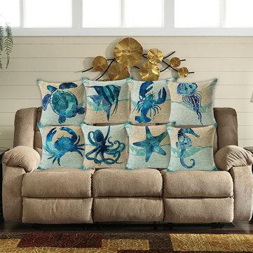 호아나45x45cm홈인테리어푸른바다 동물 인쇄 7 선택 패턴 코튼 린넨 베갯잇 소파 쿠션 커버