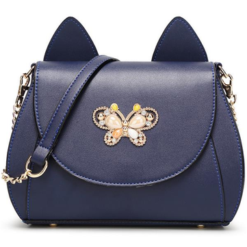 Women Cute Cat Shape Crossbody Bag Butterfly Decorative PU Leather Fashion Shoulder bagWomen Cute Ca