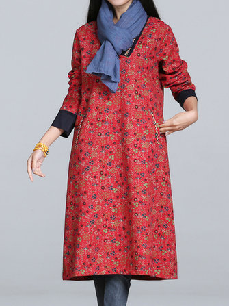 Vintage V-Neck Printing Long Sleeve Plus Velvet Thick Loose Dress
