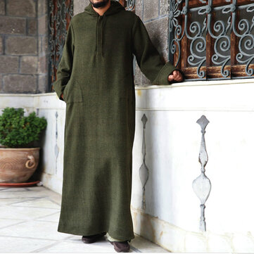 TWO-SIDED Men Thick Loose Half-open Hooded Kaftan Long Shirt