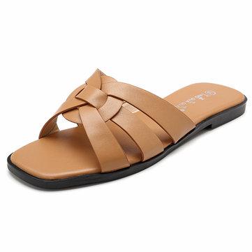 Women Slip On Causal Shoe Weave Flat Sandals