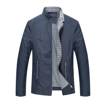 Casual Business Stand Collar Zipper Spring Fall Pure Color Men Brief Jacket Coat