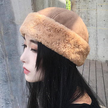 Mens Womens Winter Plus Velvet French Brimless Hats