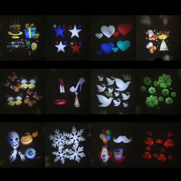 12 Types Christmas Film Pattern for LED Moving Laser Projector Landscape Stage Light