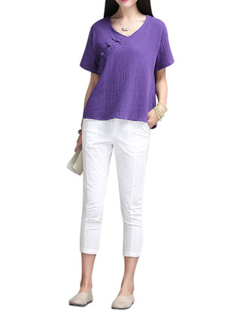 Women Short Sleeve Chinese V-Neck Cotton Linen Blouse