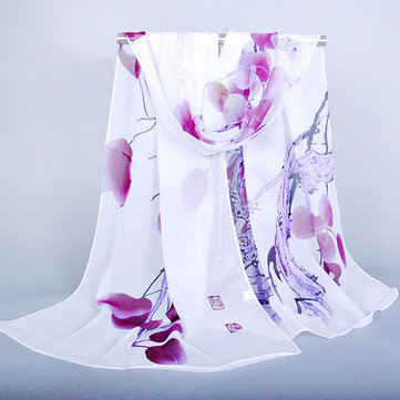 Women Silk Traditional Chinese Painting Scarf Fashion Outdoor Summer Flower Shawl