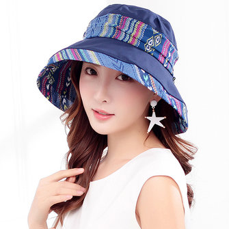 Women Summer Wide Birm Sunscreen Bucket Hat Outdoor Beach Traveling Visor Cap