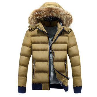 Men 's Winter Coat Thickening Fur Collar Stylish Spell Color Cotton Coats