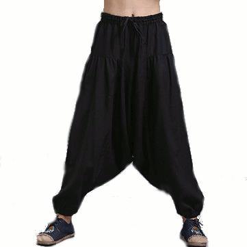 Sciolto cavallo pantaloni goccia maschio pantaloni harem casuale cotone elastico bloomers lino pantaloni Yoga uomini