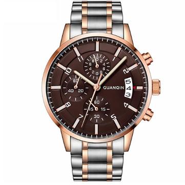 GUANQIN GS19093 Quartz Watch Calendar Business Style Watch Men Sport Stainless Steel Strap Watch