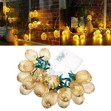 Battery Powered 2.3M 20LEDs Warm White Pineapple Shaped Outdoor Lanterns String Lights For Holidays