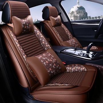 Leather Car Front and Back Seat Cover Cushion Protector with Pillow Universal for Five Seats Car