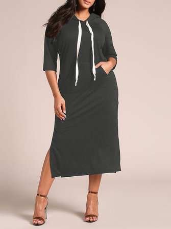 M-5XL Women Casual Side Split Hooded Sweatshirt Dress