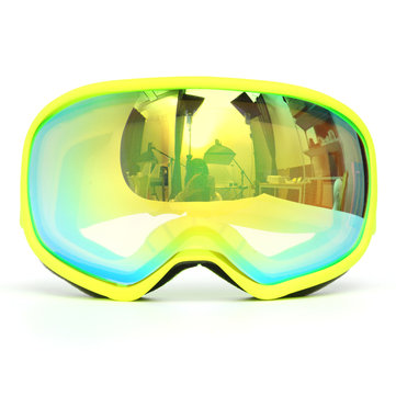 Pro Skiing Goggles Double Lens Anti Fog UV Green Lens Yellow Frame
