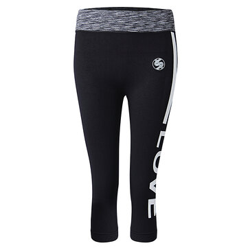 Women Letter Printed Slim Yoga Pants Seventh Length Fitness Legging