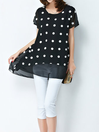 O-neck Chiffon Polka Dot Blouse