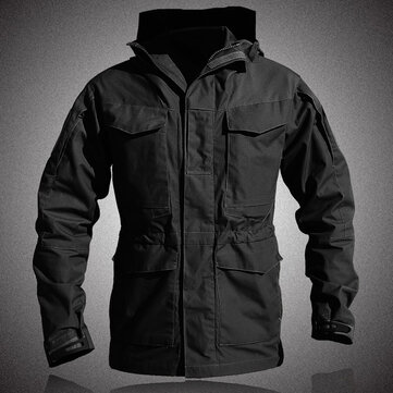 Mens Military Style Multi-pocket Hooded Windproof Jacket Out
