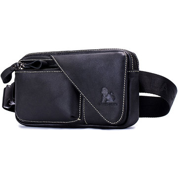 Men Genuine Leather Sling Bag Chest Waist Bag Crossbody Bag