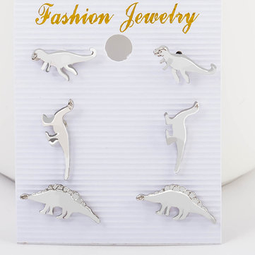 Cute Dinosaur Stud Earring Silver Gold Animal Ear Stud