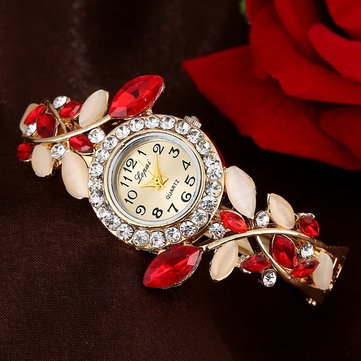 Colorful Crystal Vintage Dress Ladies Quartz Watch Bracelet Watch