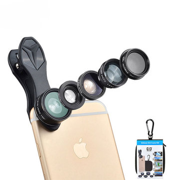 Apexel APL-DG5 5 in 1 Universal Fisheye Wide Angle Macro Telescope CPL Lens for Mobile Phone Tablet