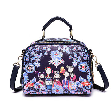 Women Printed Forest Series Floral Print Handbag Crossbody Bag