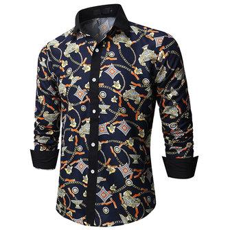 Impression mode pour hommes à manches longues Slim Fit Button up Stylish Shirt