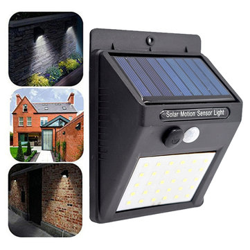 2pcs Solar Powered 30 LED PIR Motion Sensor Waterproof Wall Light for Outdoor Garden Yard 3 Modes