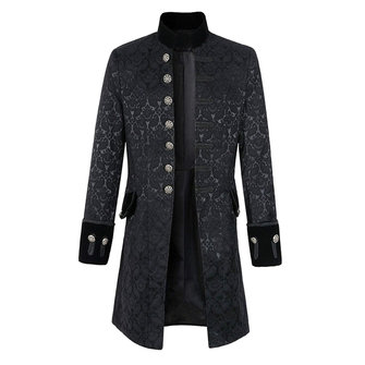 Mens Jacquard Mid-long Single-breasted Jacket Stand Collar Autumn Trench Coat