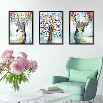 Miico Three-dimensional Triptych Watercolor Elk Wall Sticker Home Decor Mural Art Removable Wall Decals