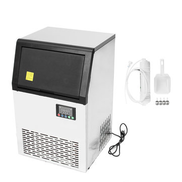 320W 220V/50hz 80kg Commercial Ice Maker Machine Ice Cube Maker Stainless Steel Bar