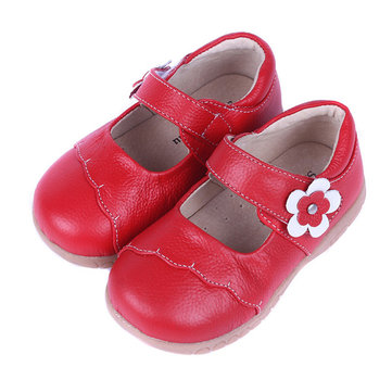 Girls Pure Color Flower Hook Loop Soft Dress Shoes Kids Casual Flats