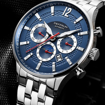 DEFFRUN DM0002 Moon Phase Calendar Automatic Mechanical Watches Business Style Men Watch
