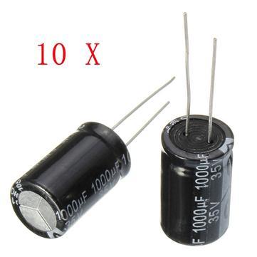 10pcs 35V 1000uF Electrolytic Capacitor Low ESR 13 x 20mm