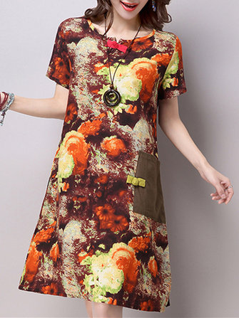 Vintage Women Floral Printed Loose Plate Buckle Dresses