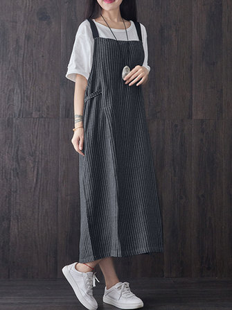 Women Striped Sleeveless Strap Loose Mid-long Dress